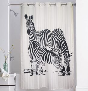 Shower curtains - Lushomes Digitally Printed Zebra Shower Curtain with 10 Eyelets