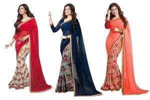 Wama Designer Sarees - Wama Fashion Self Design Saree For Women With Blouse Piece(TZ_Combo_VRC)