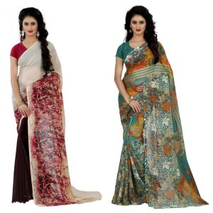 Wama Fashion Multi Colour Faux Georgette Pack Of 2 Sarees (code - Combo_1147_d-1161_a)