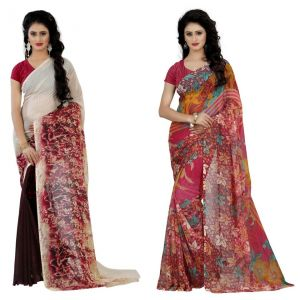Wama Fashion Multi Colour Faux Georgette Pack Of 2 Sarees (code - Combo_1147_d-1161_b)