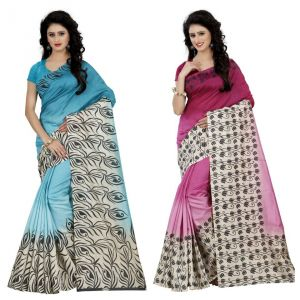 Wama Fashion Multi Colour Faux Georgette Pack Of 2 Sarees (code - Combo_1165_a-1170_a)