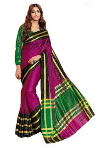 Wama Women's Clothing - Wama Dark Pink Cotton Silk Saree With Blouse(TZ_Gitta)