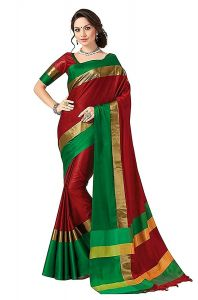 Cotton Sarees - Wama Red Cotton Silk Saree With Blouse(TZ_Himanishi _ Red)