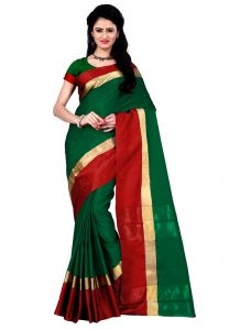 Wama Women's Clothing - Wama Green Cotton Silk Saree With Blouse(TZ_Himanishi_ Green)