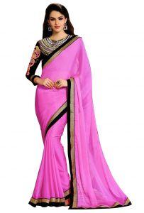 Wama Designer Sarees - Wama women's pink Sari with designer blouse (TZ_Navratri_Pink)