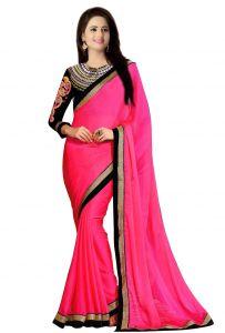 Wama Designer Sarees - Wama women's pink Sari with designer blouse (TZ_Navratri_Rani pink)