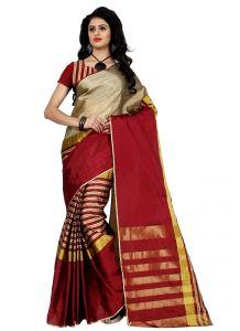 Wama Sarees - Wama Jaucquard cotton  Silk sari with blouse(TZ_Arun_Red)