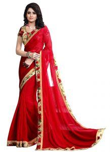 Wama Georgette Sarees - Wama Fashion red color Georgette sari(TZ_Chandramukhi_Red)