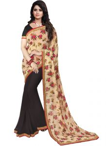 Wama Cotton Sarees - wama fashion cotton silk sari(TZ_Flower_Black)