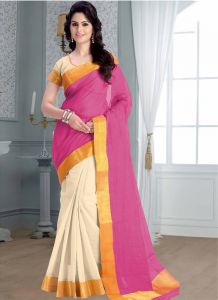 Wama Cotton Sarees - wama Jacquard lace border cotton sari with blouse (TZ_Jayho_rama)