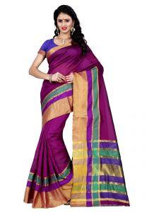 Wama Silk Sarees - Wama Tussar silk purple saree with blouse(TZ_Jodha_purple)