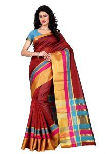 Wama Silk Sarees - Wama tussar silk maroon saree with blouse(TZ_Jodha_Maroon)