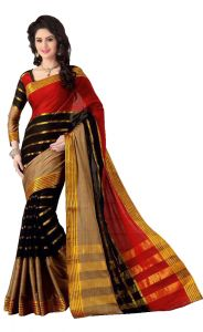 Wama Cotton Sarees - wama fashion cotton silk sari(TZ_Kashish_Red)