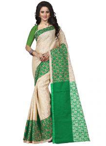 Wama Silk Sarees - Wama tussar silk green saree with blouse(TZ_padmavati)