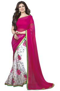 Wama Georgette Sarees - Wama fashion Georgette pink colour designer Printed Saree(TZ_Rose_aayesha)
