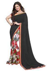 Wama Georgette Sarees - Wama fashion georgette Black color  flower design printed designer saree