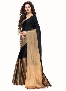 Wama Women's Clothing - wama fashion cotton silk sari(TZ_Vishva_Black)