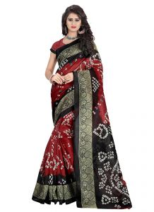 Wama Women's Clothing - Wama Fashion Self Designer Bhagalpuri  Silk Bandhani Saree (TZ_Zindagi)