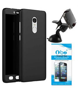 Tbz 360 Degree Protection Front & Back Case Cover For Lenovo K8 Note With Mobile Car Mount Holder Stand And Tempered Screen Guard - Black