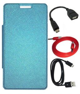 Tbz Flip Cover Case For Lava Pixel V2 With Otg Cable And Aux Cable And Data Cable -blue