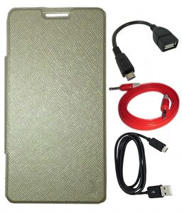 Tbz Flip Cover Case For Lava Pixel V2 With Otg Cable And Aux Cable And Data Cable -golden