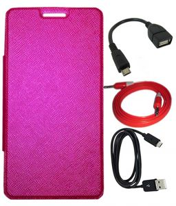 Tbz Flip Cover Case For Samsung Galaxy Grand I9082 With Otg Cable And Aux Cable And Data Cable - Pink