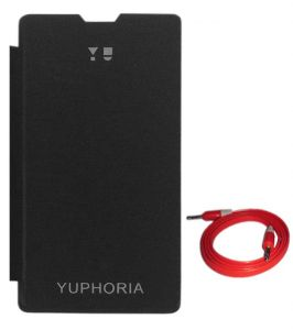Tbz Flip Cover Case For Micromax Yu Yuphoria Yu5010 With Aux Cable - Black