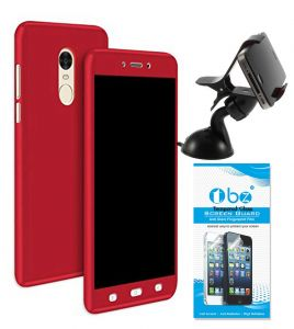 Tbz 360 Degree Protection Front & Back Case Cover For Lenovo K8 Note With Mobile Car Mount Holder Stand And Tempered Screen Guard -red