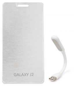 Tbz Flip Cover Case For Samsung Galaxy J2 With Flexible USB LED Light Lamp - White