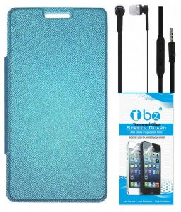 Tbz Flip Cover Case For Samsung Galaxy Grand 2 With Earphone And Tempered Screen Guard - Blue