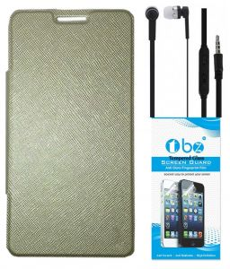 Tbz Flip Cover Case For Samsung Galaxy Grand 2 With Earphone And Tempered Screen Guard - Golden