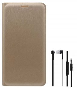 Tbz Pu Leather Flip Cover Case For Samsung Galaxy On8 With Earphone - Golden