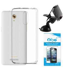 d39389a47f8 TBZ Transparent Silicon Soft TPU Slim Back Case Cover for Coolpad Mega 3 with  Mobile Car Mount Holder Stand and Tempered Screen Guard