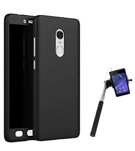 Tbz 360 Degree Protection Front & Back Case Cover For Lenovo K8 Note With Selfie Stick Monopod With Aux - Black