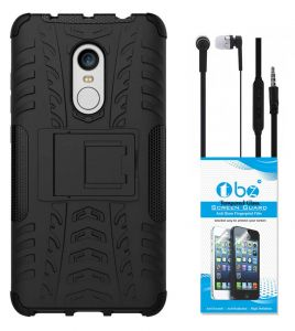 the latest b099a 92f40 TBZ Hard Grip Rubberized Kickstand Back Cover Case for Xiaomi Redmi Note 4  with Earphone and Tempered Screen Guard - Black