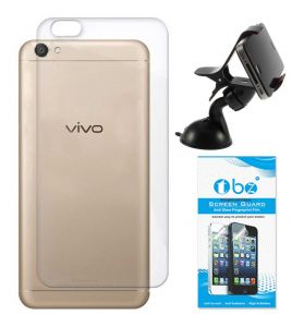 Tbz Transparent Silicon Soft Tpu Slim Back Case Cover For Vivo V5 With Mobile Car Mount Holder Stand And Tempered Screen Guard