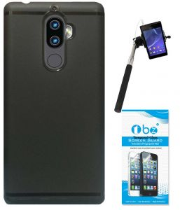 Tbz Soft Tpu Slim Back Case Cover For Lenovo K8 Note With Selfie Stick With Aux And Tempered Screen Guard - Black