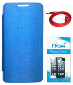 Tbz Flip Cover Case For Micromax Canvas Juice 2 Aq5001 With Aux Cable And Tempered Screen Guard - Blue