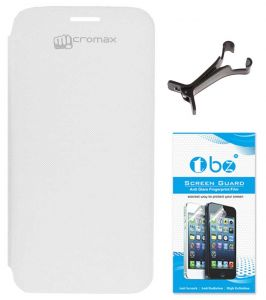 Tbz Flip Cover Case For Micromax Canvas HD A116 With Multi Stand Tablet/phone Holder And Screen Guard - White