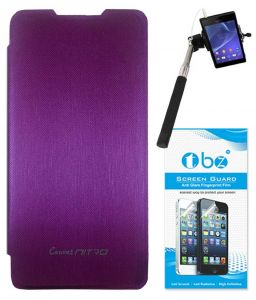 Mobile Accessory Combos - TBZ Flip Cover Case for Micromax Canvas Nitro A311 with Selfie Stick Monopod with Aux and Screen Guard - Purple