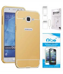 Tbz Metal Bumper Acrylic Mirror Back Cover Case For Samsung Galaxy On8 With Nossy Sim Adaptor And Tempered Screen Guard - Golden