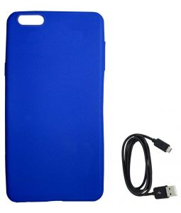 Tbz Rubberised Silicon Soft Back Cover Case For Oneplus 5 With C-type Data Cable - Blue