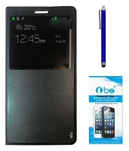 Tbz Window Pu Leather Flip Cover Case For Samsung Galaxy On Max With Stylus Pen And Tempered Screen Guard - Black