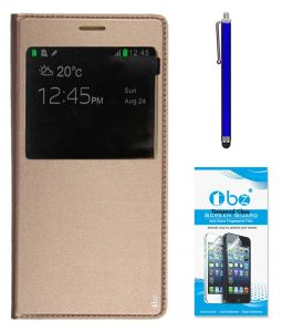 Tbz Window Pu Leather Flip Cover Case For Samsung Galaxy On Max With Stylus Pen And Tempered Screen Guard -golden