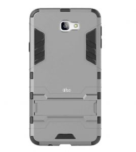 Tbz Tough Heavy Duty Shockproof Armor Defender Dual Protection Layer Hybrid Kickstand Back Case Cover For Samsung Galaxy J7 Prime -grey
