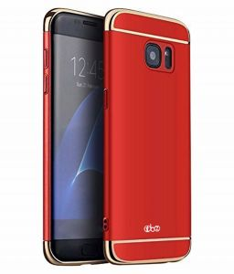 Tbz 3 In 1 Anti-scratch Fingerprint Shockproof Electroplate Metal Texture Armor PC Hard Back Case Cover For Samsung Galaxy J7 Prime-red