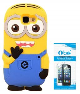 Tbz Minion Soft Rubber Silicone Back Case Cover For Samsung Galaxy J7 Prime With Tempered Screen Guard