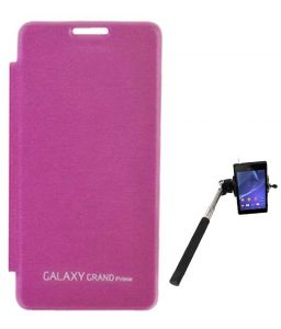 Tbz Flip Cover Case For Samsung Galaxy Grand Prime G530h With Selfie Stick Monopod With Aux - Pink