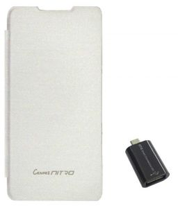 Tbz Flip Cover Case For Micromax Canvas Nitro A311 With Micro USB Otg Connector Adapter - White