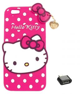 Tbz Cute Hello Kitty Soft Rubber Silicone Back Case Cover For Samsung Galaxy On Max With Cute Micro USB Otg Adapter
